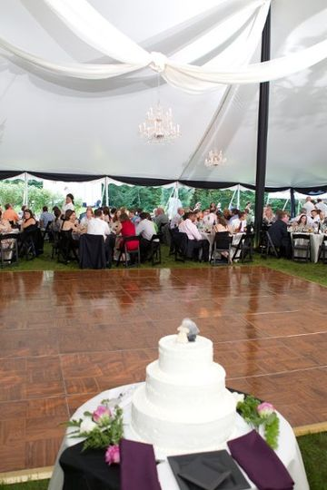 "An example of a home-based, tented wedding. Nothing says ""personal"" like inviting guests to..."