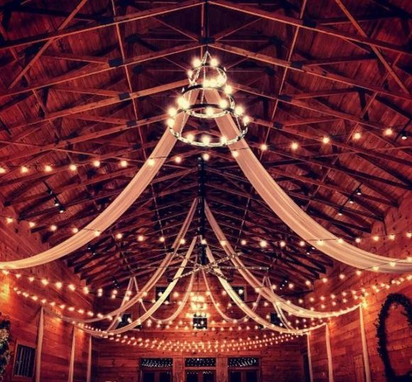Barn lighting and drapes
