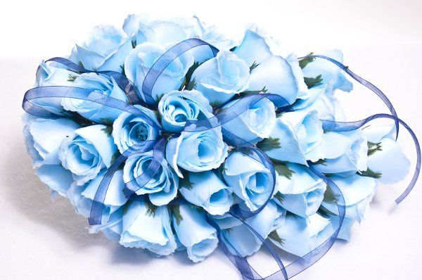 baby blue cascading bouquet (color may be changed) fresh and silk available