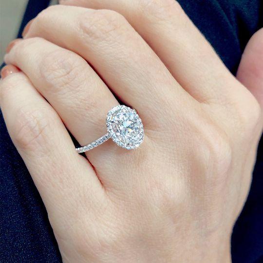 Custom oval halo diamond ring