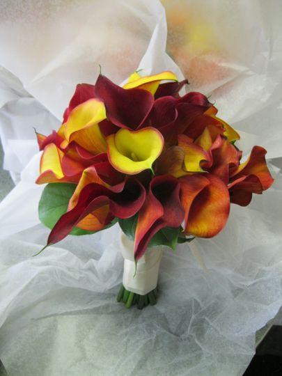 Bridal Bouquet fall color Calla Lilies