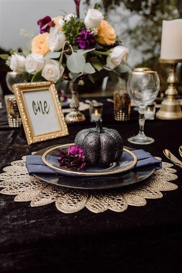 All Black Wedding Table Decor