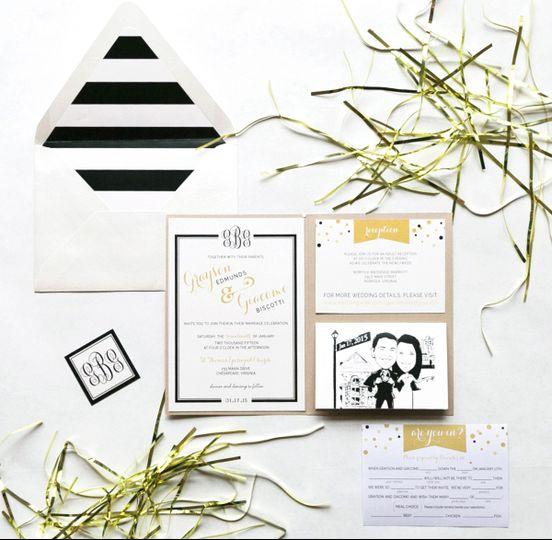 black gold elegant wedding invitation