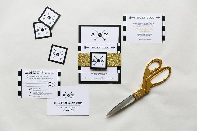 black gold glitter invitation