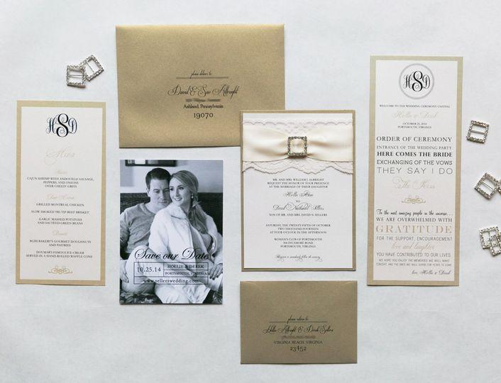 gold lace rhinestone elegant wedding invitaiton