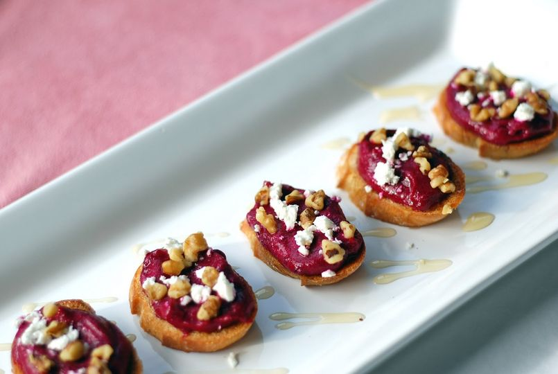 beet crostini with walnuts and goat cheese