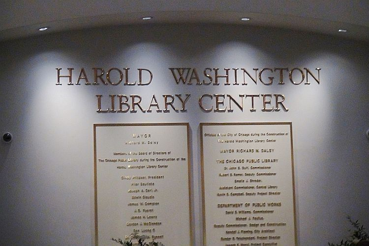 harold washington library sign