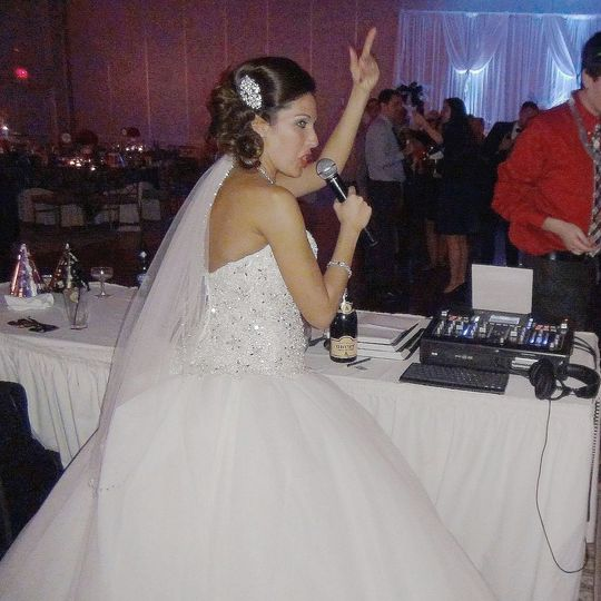 Bride on the mic