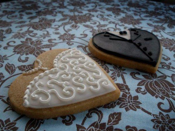Bride and groom heart cookies.