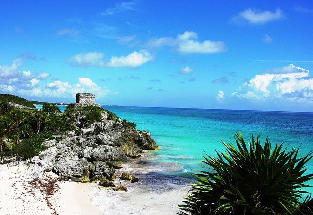 Beautiful Tulum beach in Mexico