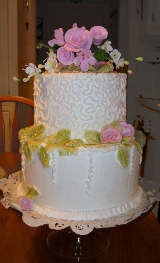 White Buttercream with Pink Gumpaste Flowers