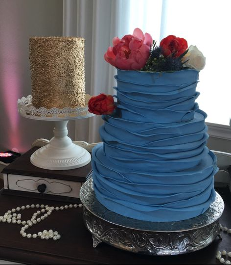 Blue textured cake
