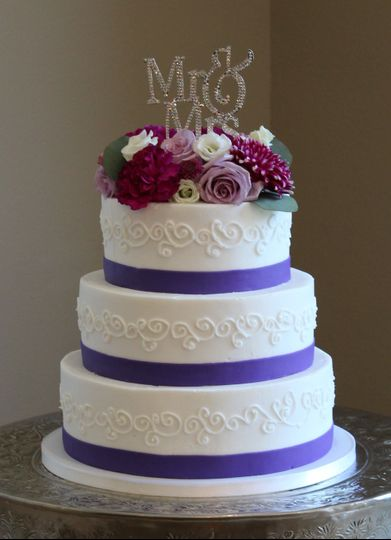 Textured cake with purple band