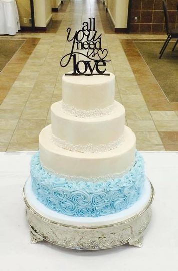 Blue textured cake base