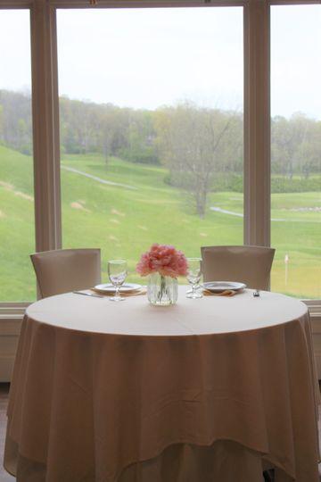 Sweetheart table in bay window