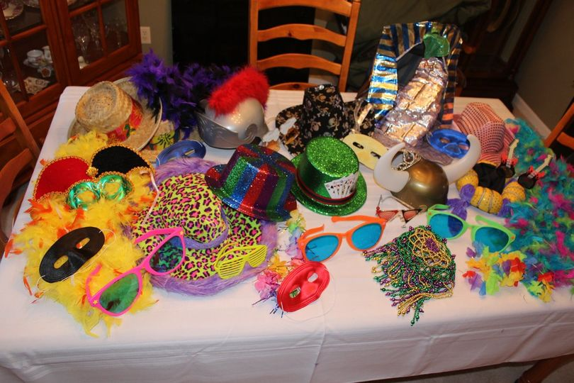 Photo Booth Props, include boas, hats, masks, glasses and more - Photo Booth Fun!