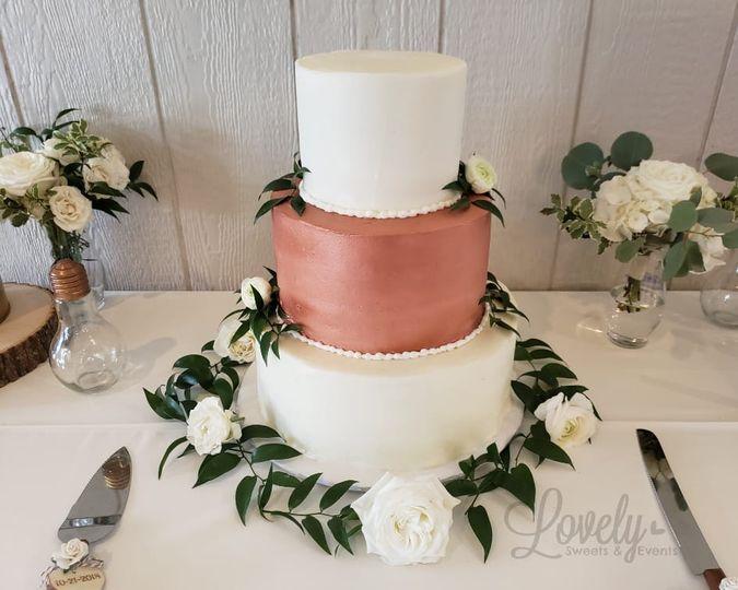 Copper & White Wedding Cake