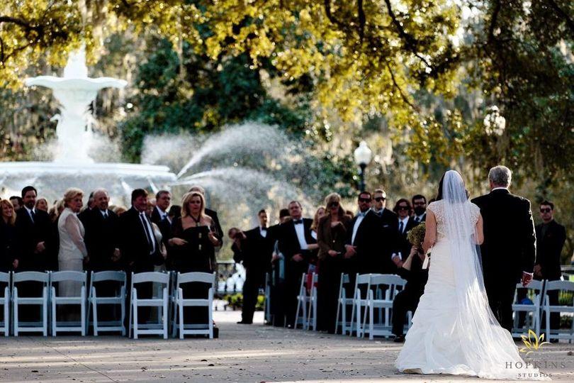 The bride walking down the isle