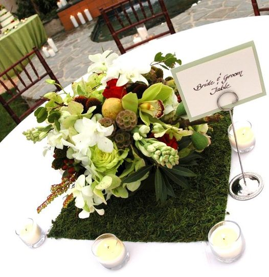 Green moss and orchids centerpiece