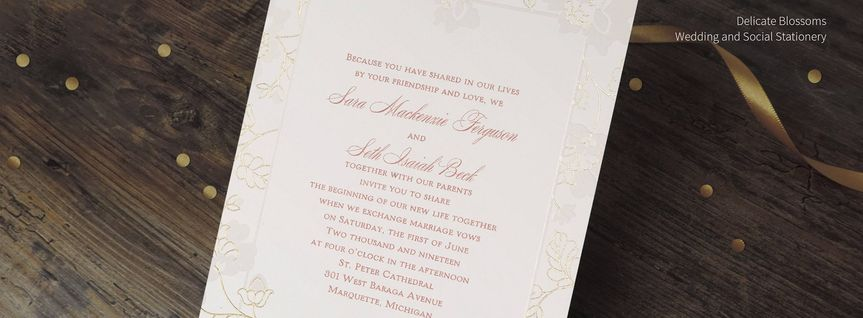 Invitation with gold ribbon