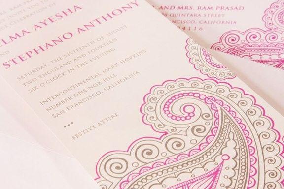 Pink artwork on invitation