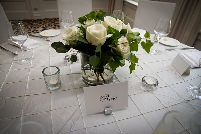 Table card and floral centerpiece