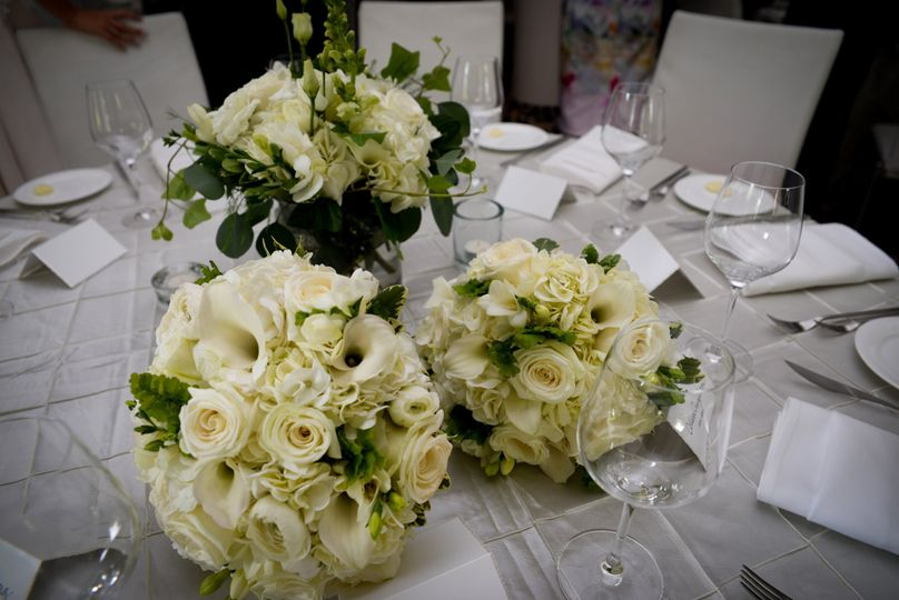 White rose arrangements