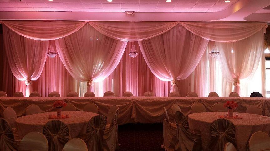 Pink sheer drapery