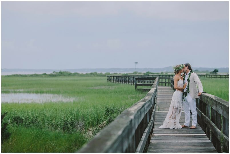 Couple kissing on pathway