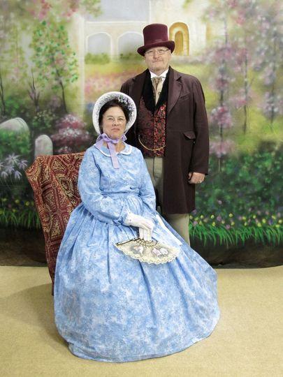Rev. Jack & Rev. Gail in Victorian attire. Victorian wedding are a specialty.