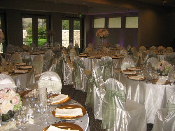 Calabasas Country Club wedding with rentals provided by Imperial Party Rentals (Satin chair covers...
