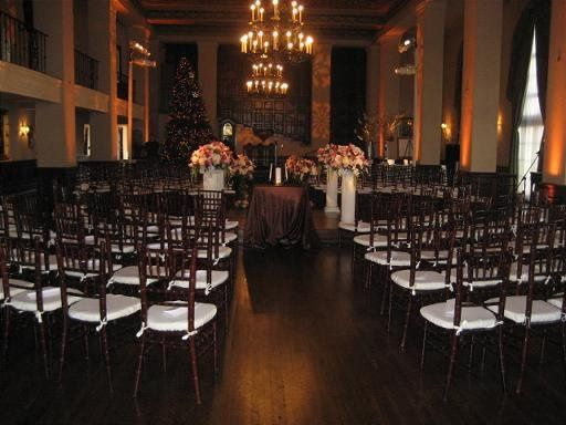 Wedding Ceremony at Wilshire Ebell Theater with rentals provided by Imperial Party Rentals (dark...