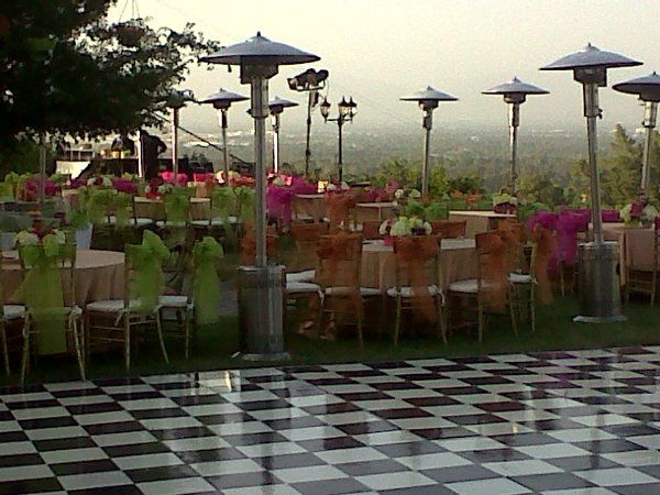 Outdoor Barmitzvah at private home with rentals provided by Imperial Party Rentals (tables, gold...