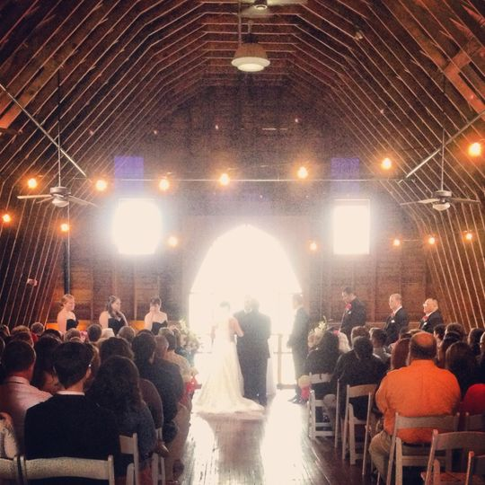 Wedding ceremony in an barn