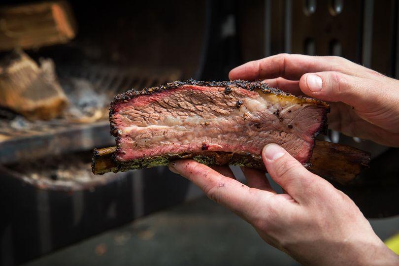 Medium rare smoked ribs