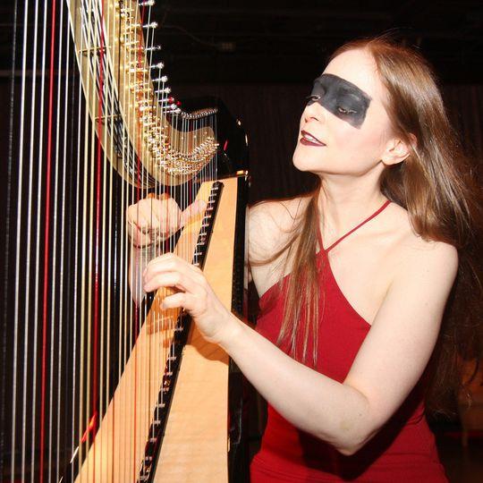 Blindfolded musician