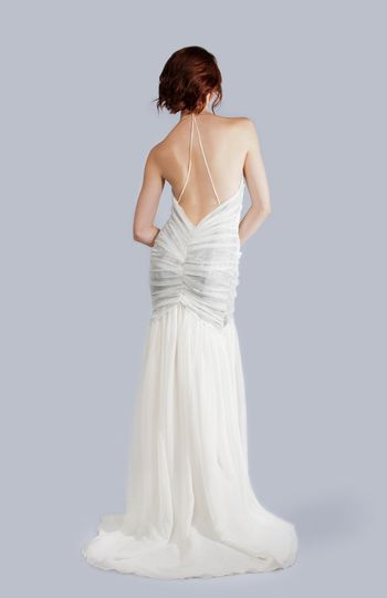 ALLIE Halter Neck Gown with Metallic Lace Accent