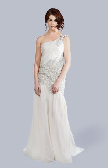 PAIGE One-Shoulder Gown with Lace Accent