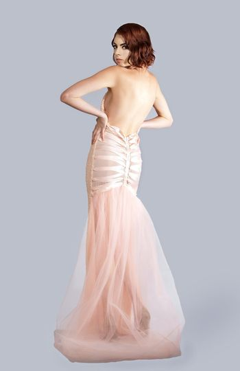 MARYA Halter V-Neck Gown with Lace Tie