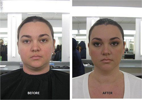 Miss L Before and After  Light brow shaping and corrective makeup