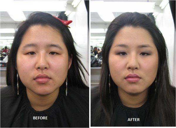 Miss S Before and After  Custom brow tweezing and shaping, correct eye makeup to lift and open eyes