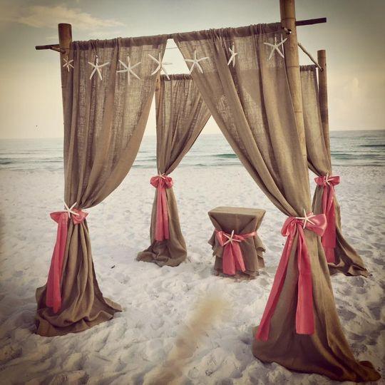 Beach wedding altar and arch