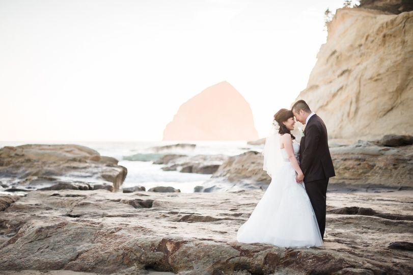 Cape Kiwanda tidepools on the Oregon Coast.  Wedding at Pelican Brewing. Photo by Imago Dei...