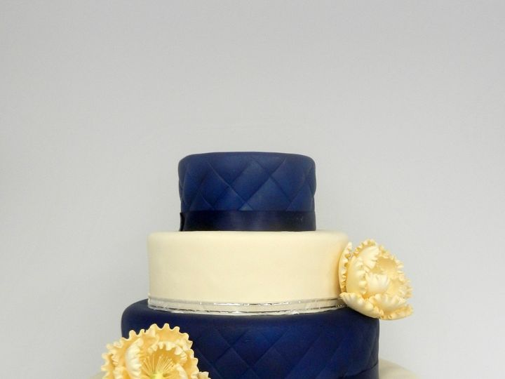 Tmx 1381855319189 Navy And Ivory With Peony Danvers, MA wedding cake