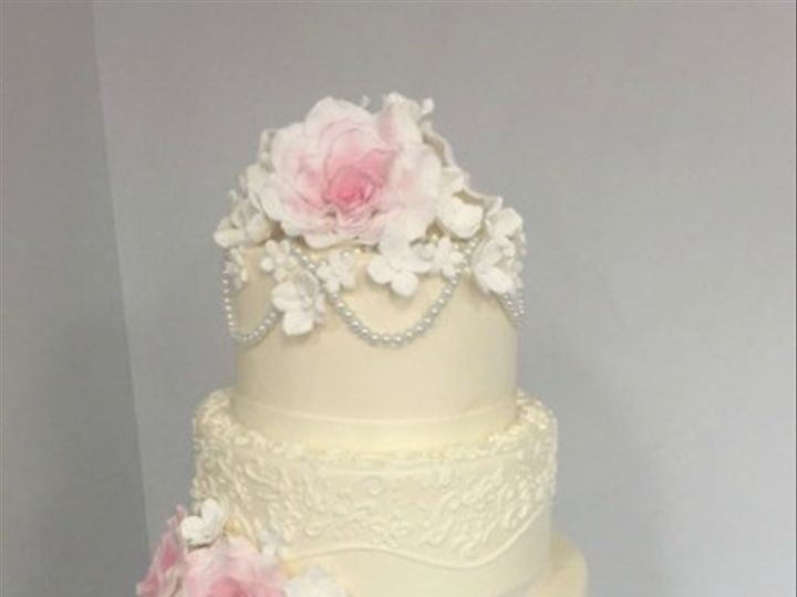 Tmx 1478711472011 Blush Roses Pearls And Scroll Wedding Danvers, MA wedding cake
