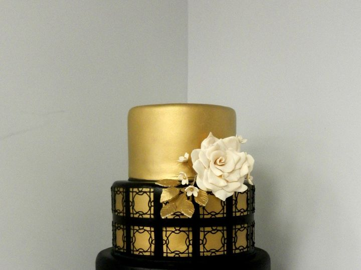 Tmx 1478711687058 Black And Gold Wedding Danvers, MA wedding cake