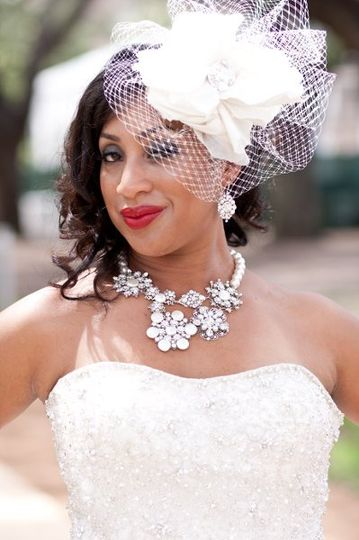 Darling Rashida rocking our Richard Designs headpiece.