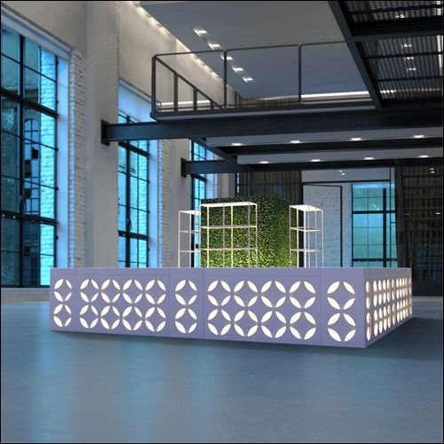 EVENLTUXE Coterie Glow Bar, Airy Bar Back & Boxwood Hedge Wall Pairing (Square Config.)