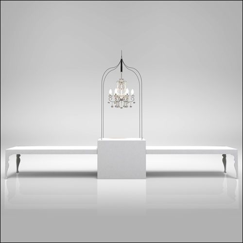 EVENTLUXE Traverse Communal Double Neo-Baroque Table with Iron Cage Display (White)