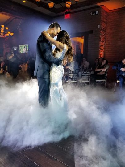 Low lying fog first dance with spot light and light technician!